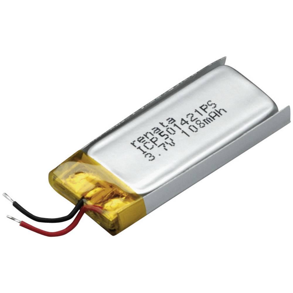 LiPo-akumulator Renata ICP501421PS, 3, 7 V, 115 mAh, ICP061423, (D x Š x V) 22, 5 x 14, 1 x 5.2 mm 100690