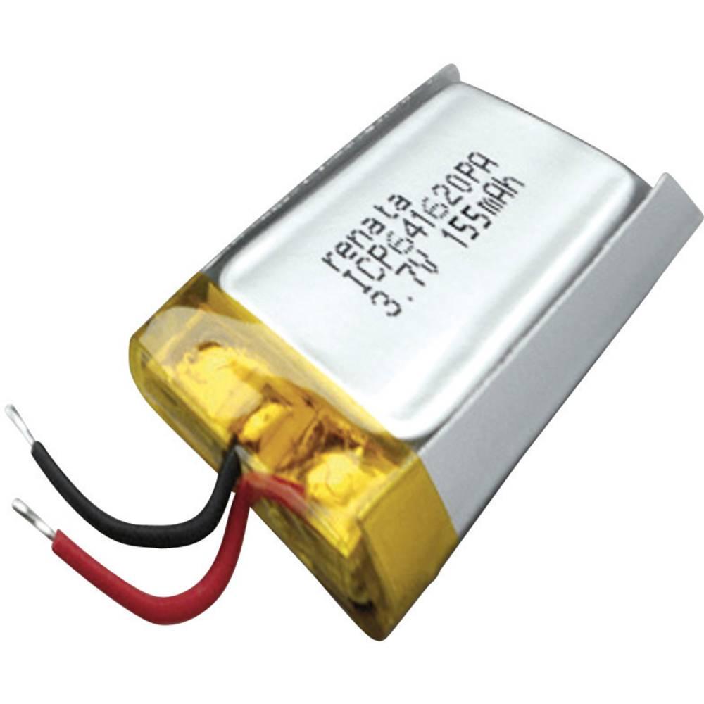 LiPo-akumulator Renata ICP641620PA, 3, 7 V, 165 mAh, ICP071622, (D x Š x V) 21, 5 x 16 x 6, 9 mm 100695