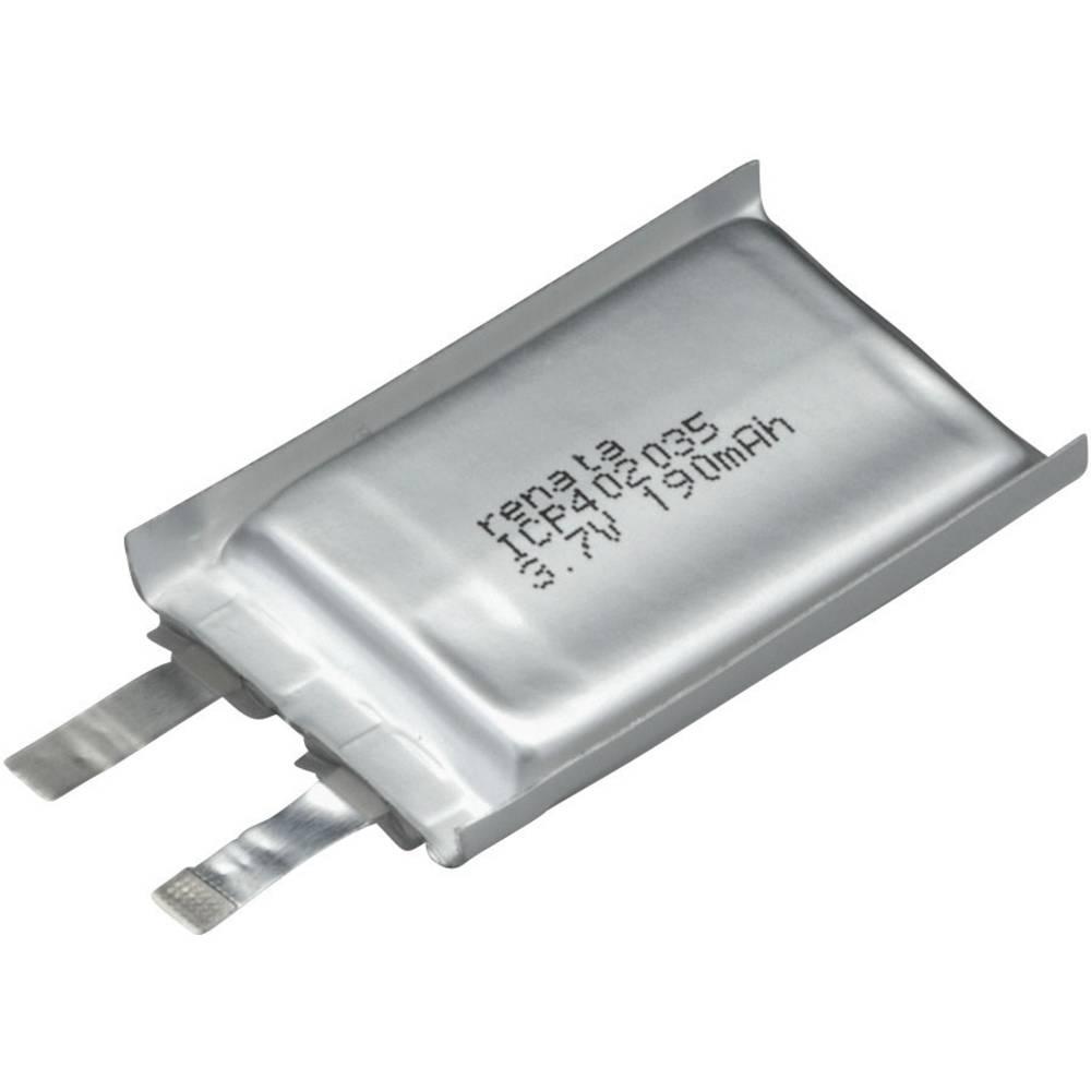 LiPo-akumulator Renata ICP402035, 3, 7 V, 195 mAh, ICP052136, (D x Š x V) 35 x 20 x 4, 4 mm 100645