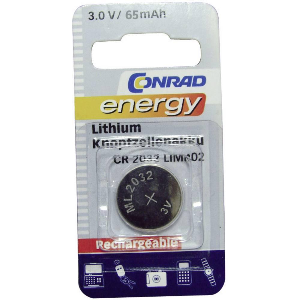 Genopladeligt knapcellebatteri ML 2032 (value.1793032) Lithium Conrad energy CR2032 65 mAh 3 V 1 stk