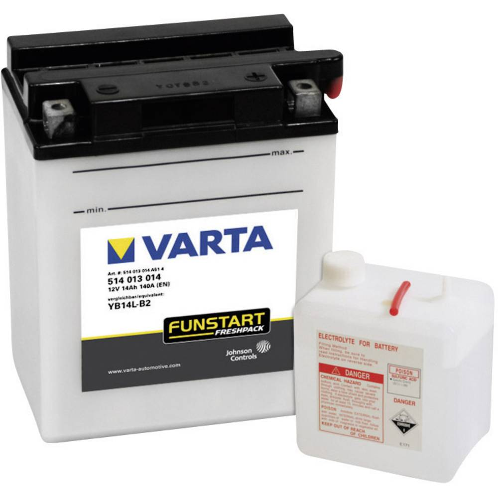 VARTA Akumulator za motorna kolesa YB14L-B2 514013014 12 V 14 Ah Y8 za motorna kolesa, skuterje, štirikolesnike, Jet Ski, motorn