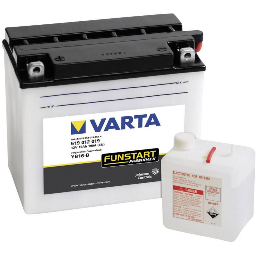 VARTA Akumulator za motorna kolesa YB16-B 519012019 12 V 19 Ah Y6 za motorna kolesa, skuterje, štirikolesnike, Jet Ski, motorne