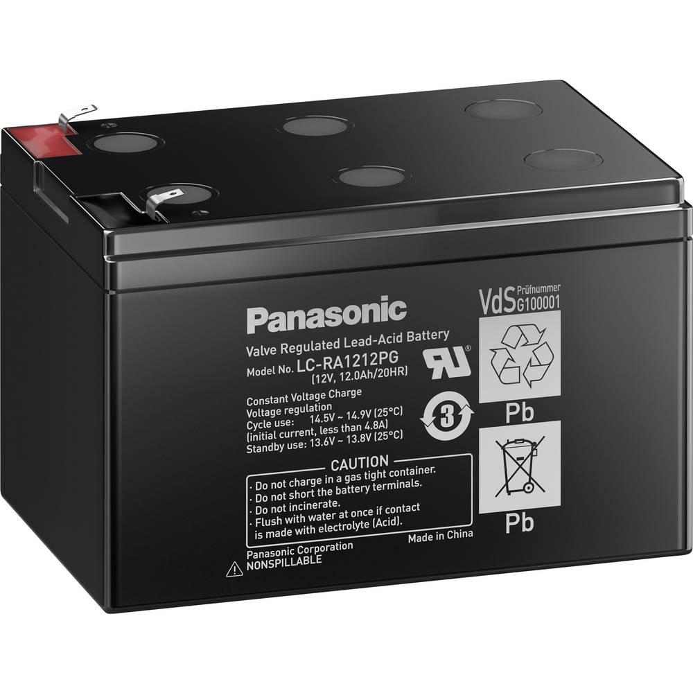 Svinčev akumulator 12 V 12 Ah Panasonic 12 V 12 Ah LC-RA1212PG1 svinčevo-koprenast (AGM) 151 x 94 x 98 mm ploščati vtič 6.35 mm