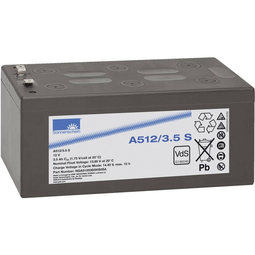 Svinčev akumulator 12 V 3.5 Ah GNB Sonnenschein A512/3, 5 S NGA51203D5HS0SA svinčevo-gelni 134 x 65 x 67 mm ploščati vtič 4.8 mm