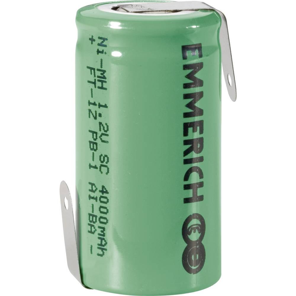 NiMH akumulator Emmerich SUB C Z-spajkalni priključek 1.2 V 4000 mAh (Ø x V) 22.5 mm x 43 mm