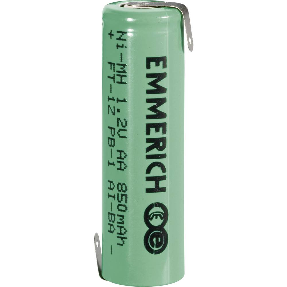 NiMH akumulator Emmerich AA Z-spajkalni priključek 1.2 V 850 mAh (Ø x V) 14.5 mm x 49.5 mm