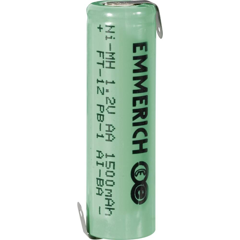 NiMH akumulator Emmerich AA Z-spajkalni priključek 1.2 V 1500 mAh (Ø x V) 14.5 mm x 49.5 mm