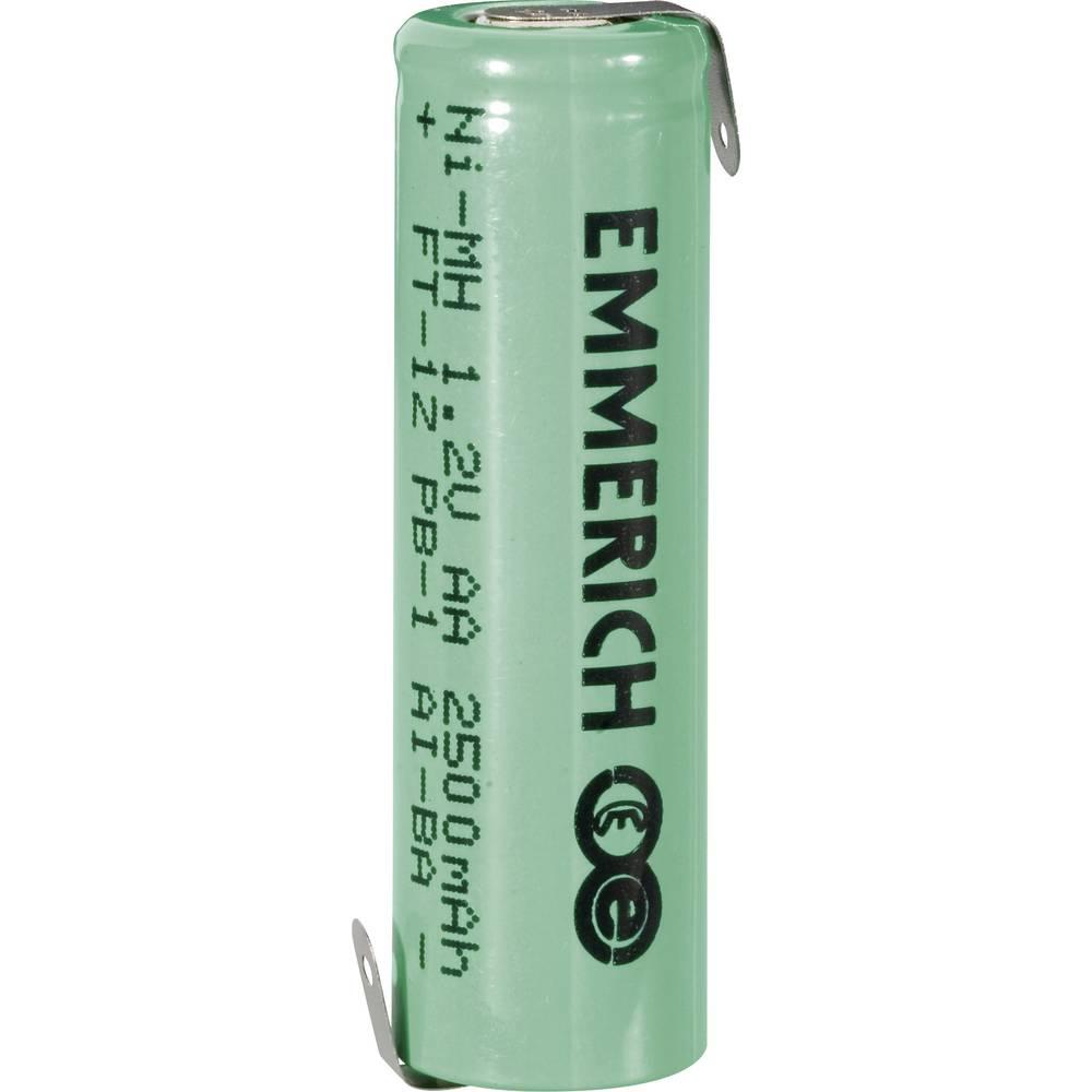 NiMH akumulator Emmerich AA Z-spajkalni priključek 1.2 V 2500 mAh (Ø x V) 14.5 mm x 49.5 mm
