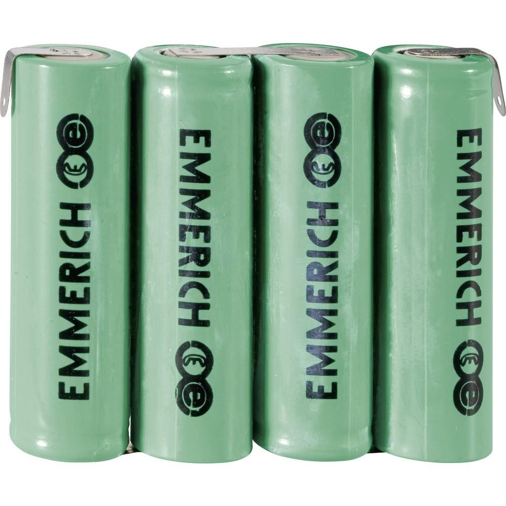 NiMH akumulatorski komplet Emmerich Mignon 4, 8 V, Z-spajkalni priključek 1500 mAh (D x Š x V) 59 x 14.5 mm x 50.5 mm