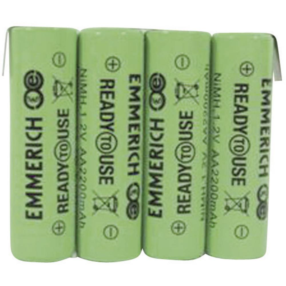 Akumulatorski paket Emmerich Ready to Use Mignon 4, 8 V, Z-spajkalni priključek 2200 mAh (D x Š x V) 59 x 14.5 x 50.5 mm