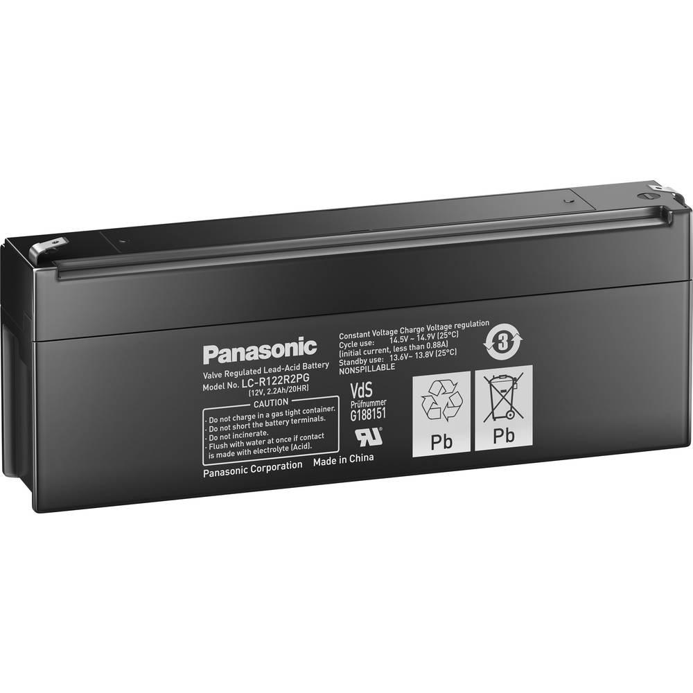 Svinčev akumulator 12 V 2.2 Ah Panasonic 12 V 2, 2 Ah LC-R122R2PG svinčevo-koprenast (AGM) 177 x 60 x 34 mm ploščati vtič 4.8 mm