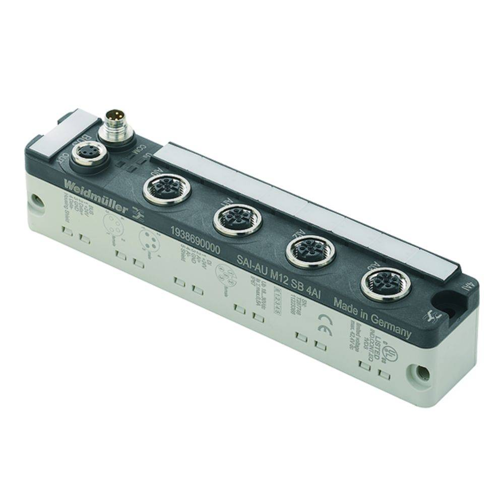 Sensor/Aktorbox aktiv M12-fordeler med metalgevind SAI-AU M12 SB 4AO 1938700000 Weidmüller 1 stk