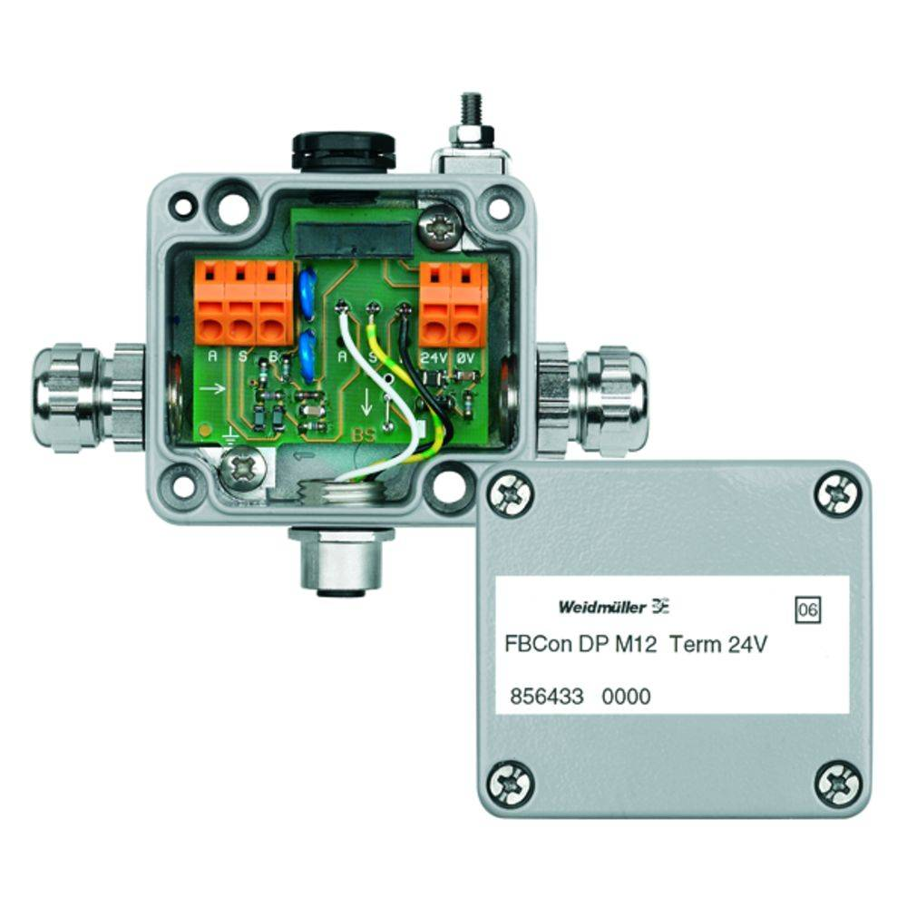 Standardni razdelilnik FBCON DP M12 TERM 24V Weidmüller vsebuje: 1 kos