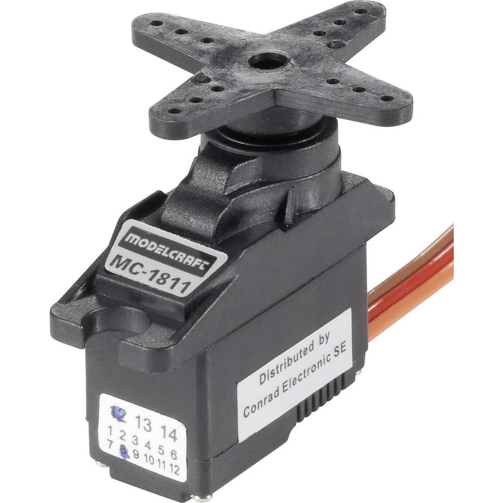 Mikro servo Modelcraft MC1811, drsni ležaj, gonilo: umetna masa, vtični sistem: JR
