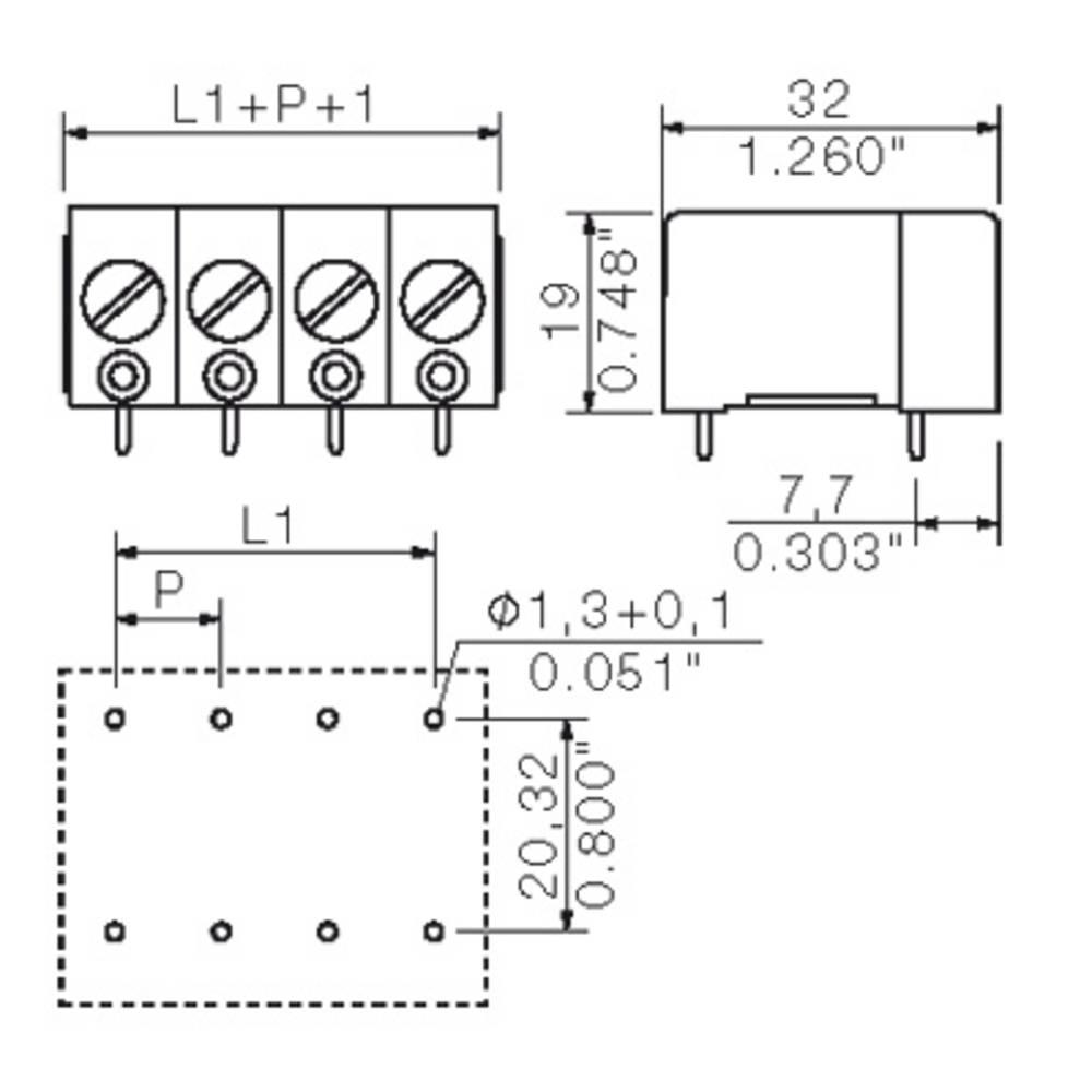 Skrueklemmeblok Weidmüller GSE 10/4/180 4.5GR 10.00 mm² Poltal 4 Grå 20 stk