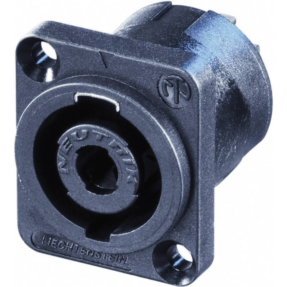 Neutrik NL4MP-UC-CON-Vtični konektor za zvočnik, s prirobnico, ravni kontakti, 4-polni, črn, 1 kos