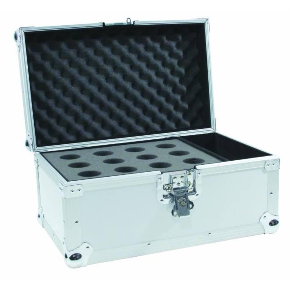 Kovček za mikrofonov Road 12 mikrofonov srebrn