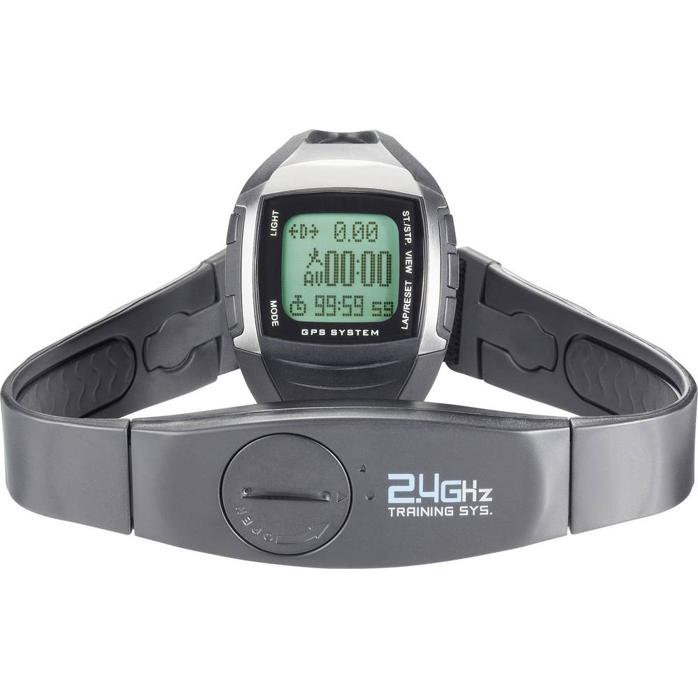 GPS ura z merilnikom srčnega utripa in priloženim prsnim trakom Multi NAV-3, kodiran prenos, črno-srebrna