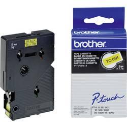 Tiskalni trak Brother TC-691,TC691, 9 mm, barva traku/pisave: rumena/črna, TC plastificir
