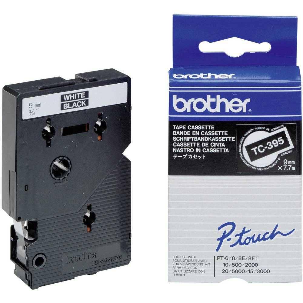 Tiskalni trak Brother TC-395,TC395, 9 mm, barva traku/pisave: črna/bela, TC plastificiran