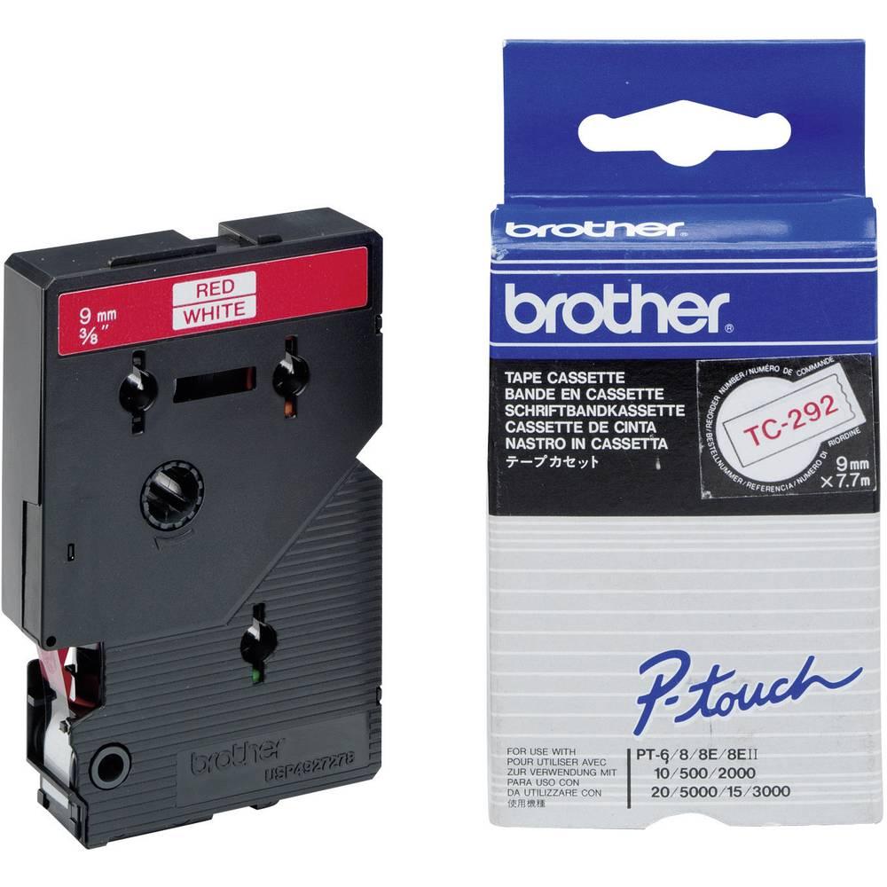 Tiskalni trak Brother TC-292,TC292, 9 mm, barva traku/pisave: bela/rdeča, TC plastificira