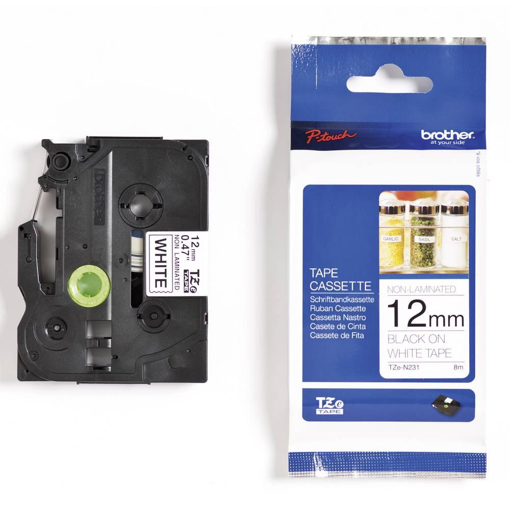 Tiskalni trak Brother TZ-N231,TZN231, 12 mm, barva traku/pisave: bela/črna, TZe plastific