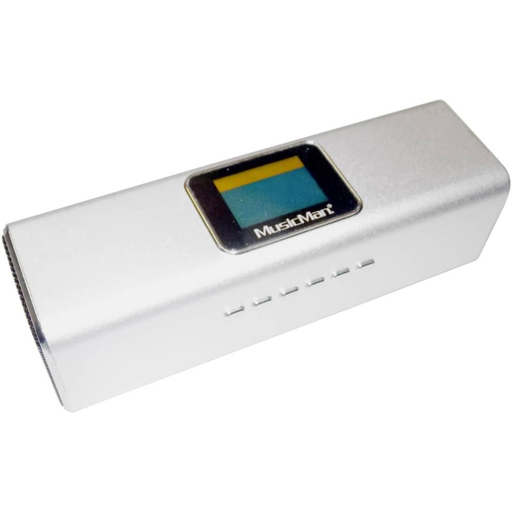 MA Display Zvočna postaja Technaxx MusicMan®-Prenosni Mini-zvočnik, USB, microSD-reža za kartico, UKW-Radio, srebrna, 3546