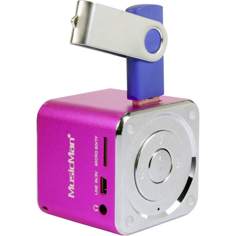 Mini zvočna postaja Technaxx MusicMan®-Prenosni Mini-zvočnik, microSD-reža za kartico, AUX-In, roza, 3531