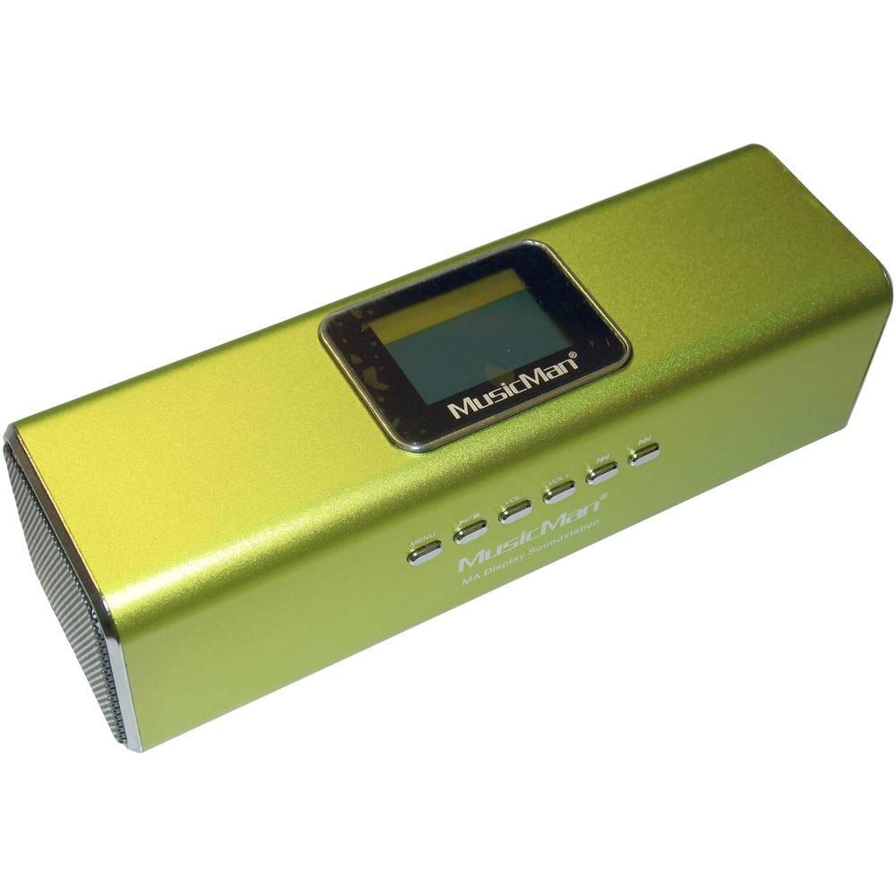 MA Display Zvočna postaja Technaxx MusicMan®-Prenosni Mini-zvočnik, USB, microSD-reža za kartico, UKW-Radio, zelena, 3545