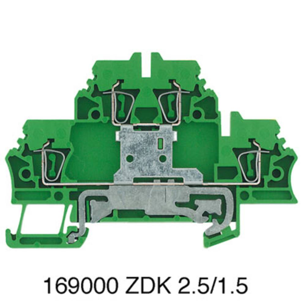 Beskyttende leder klemrække, dobbelt-tier modulopbygget terminal Weidmüller ZDK 2.5PE 1690000000 50 stk