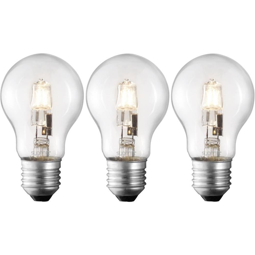 Eco halogenska žarnica Sygonix E27, 70 W = 100 W, topla bela, hruškasta, 3 kosi 28987W