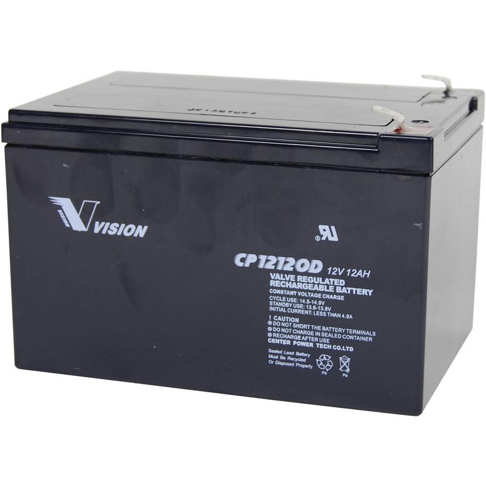 Svinčev akumulator 12 V 12 Ah Vision Akkus VISION CP12120D CP12120D svinčevo-koprenast (AGM) 151 x 101 x 98 mm ploščati vtič
