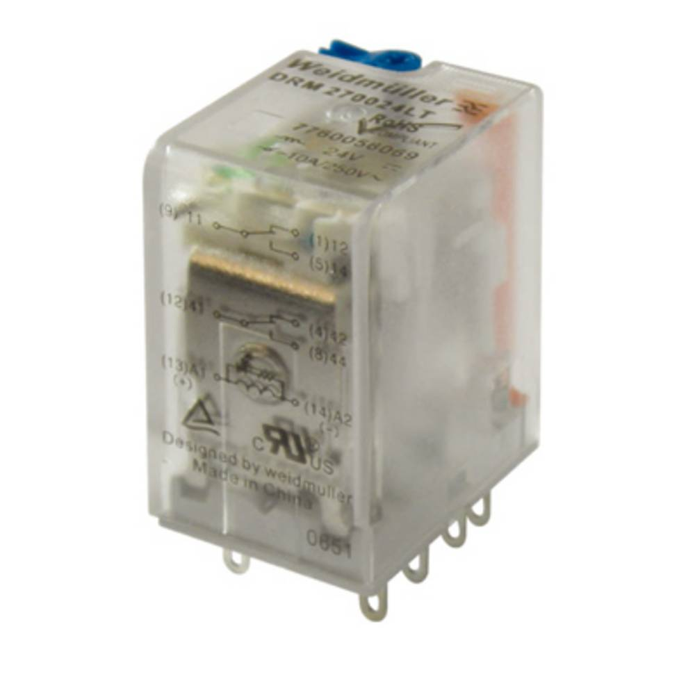 Steckrelais (value.1292892) 48 V/DC 10 A 2 Wechsler (value.1345274) Weidmüller DRM270048L/2CO/48V DC 20 stk