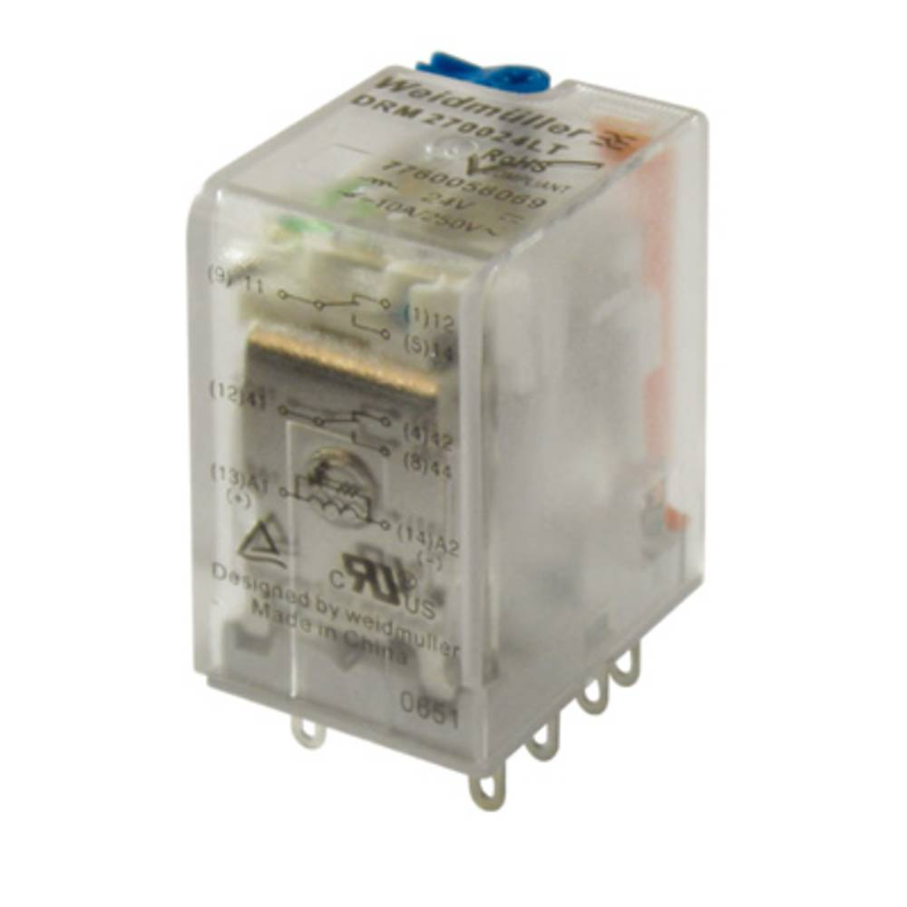 Steckrelais (value.1292892) 48 V/DC 10 A 2 Wechsler (value.1345274) Weidmüller DRM270048/2CO/48V DC 20 stk