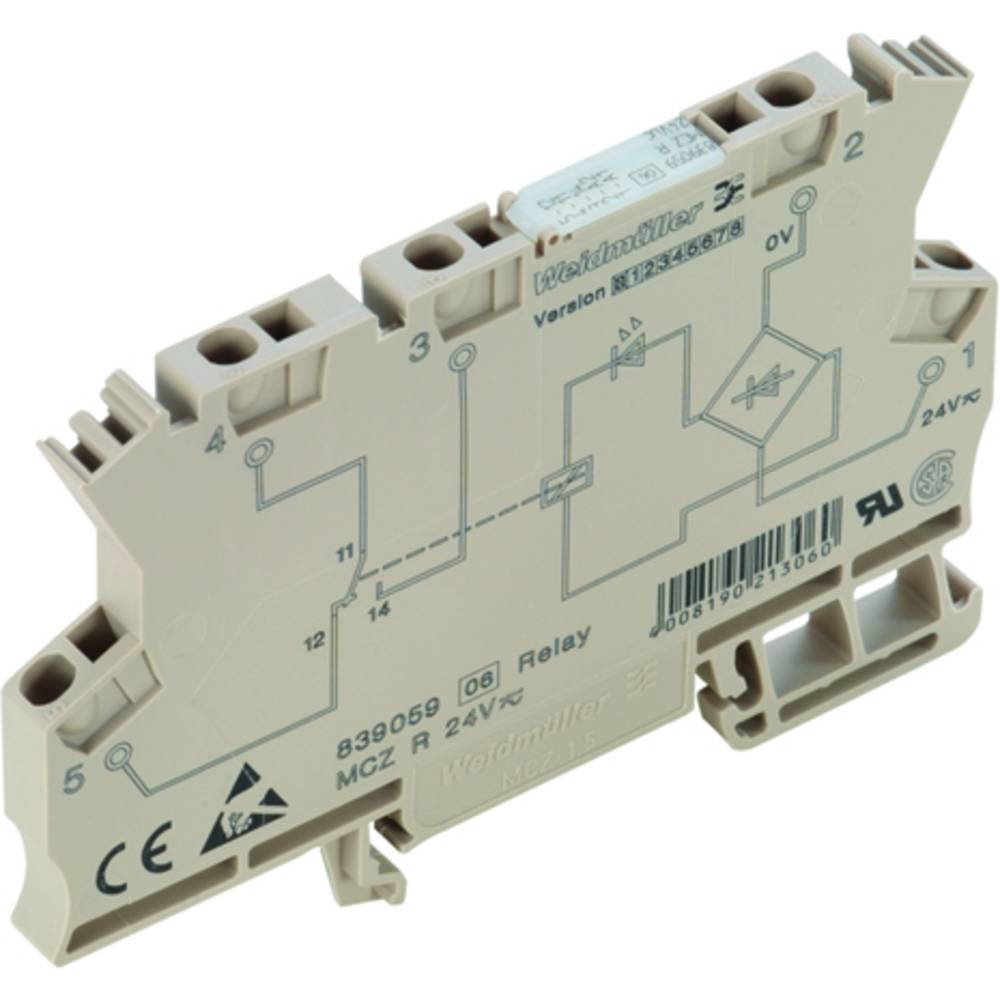 Koppelrelais (value.1292899) 10 stk 36 V/DC 6 A 1 Wechsler (value.1345271) Weidmüller MCZ R 36VDC 1CO TRAK