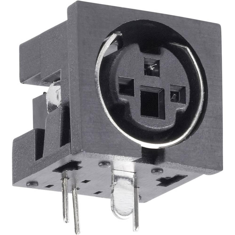 Miniaturni-DIN-okrogli vtični konektor za vtičnico, vgraden horizontalen število polov: 4 črne barve BKL Electronic 0204047 1 ko
