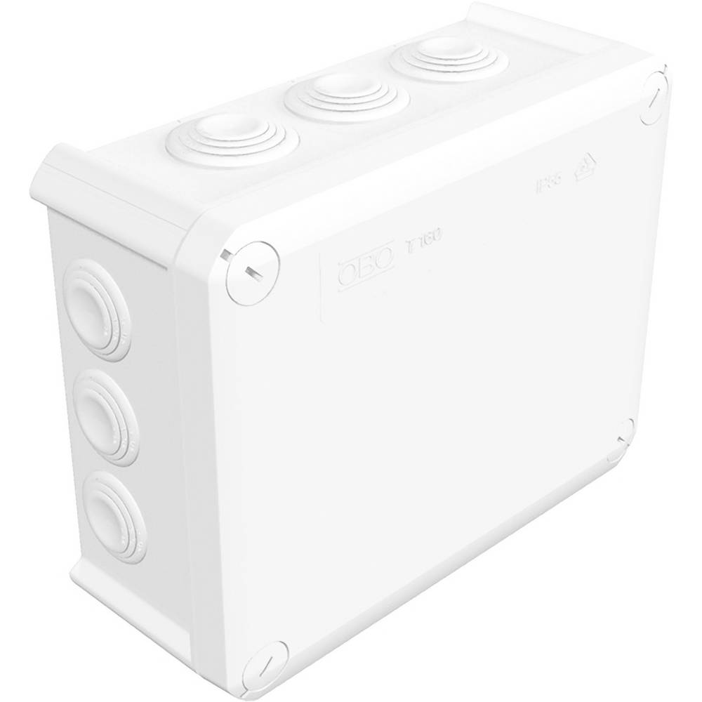 Razvodna kutija za vlažne prostorije OBO Bettermann 2007541, T160, 190 x 150 x 77 mm, bijela