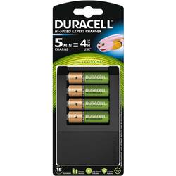 Oplader til runde celler NiMH Inkl. batterier Duracell CEF15 R03 (AAA), R6 (AA)