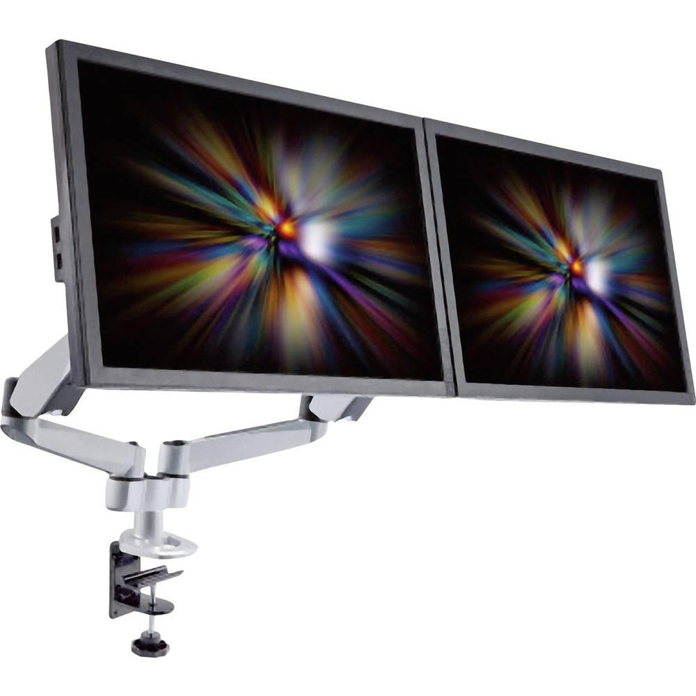 Xergo SuperFlex dvostruki stalak za ekrane, montaža na stol tehnikom plinskog tlaka žlijebnom i C-spojnicom