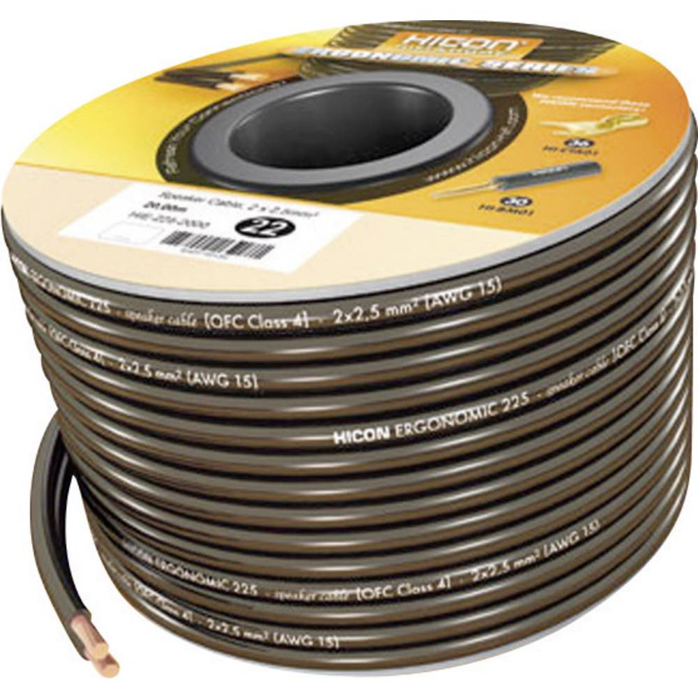 Kabel za zvočnik 2 x 2.5 mm črna Hicon HIE-225-3000 30 m
