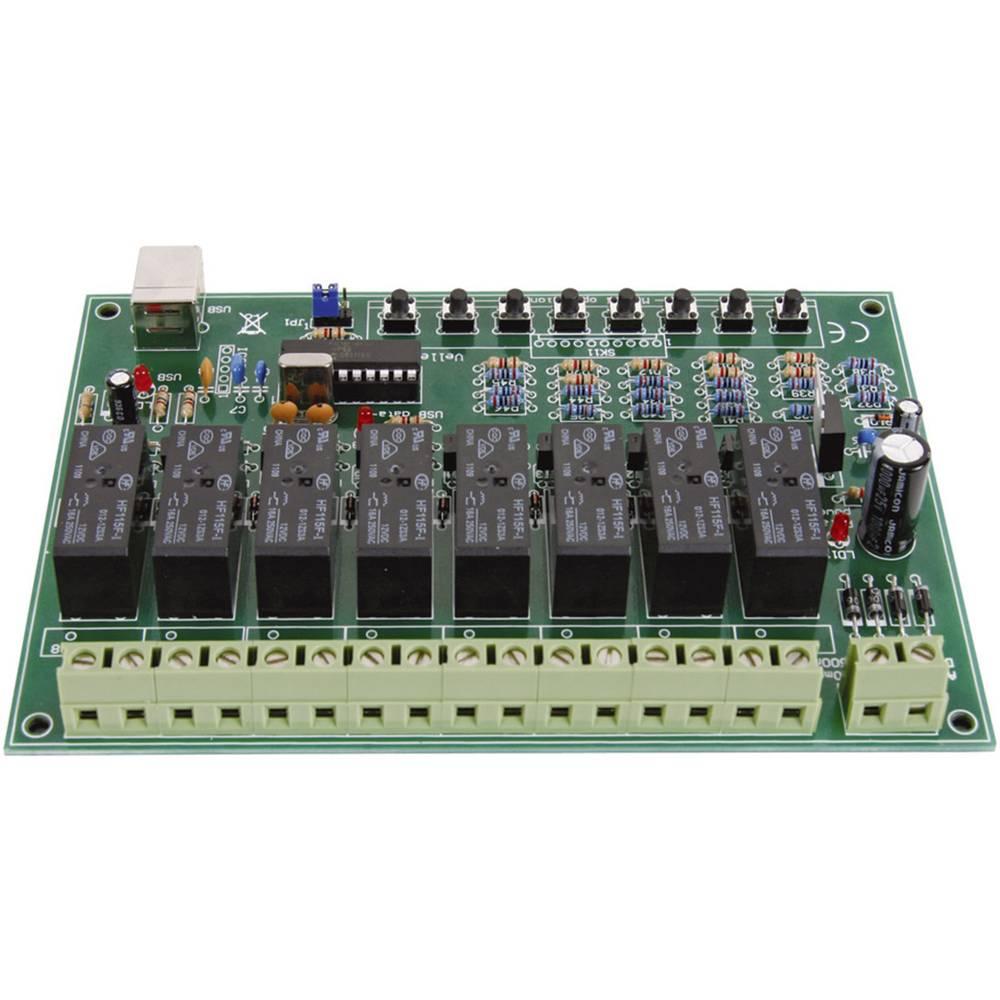 8-kanalna USB relejna kartica Velleman, obratovalna napetost 9 - 10 V/AC ali 12 - 14 V/DC, izhodna moč 16 A, 8 relejnih izhodov