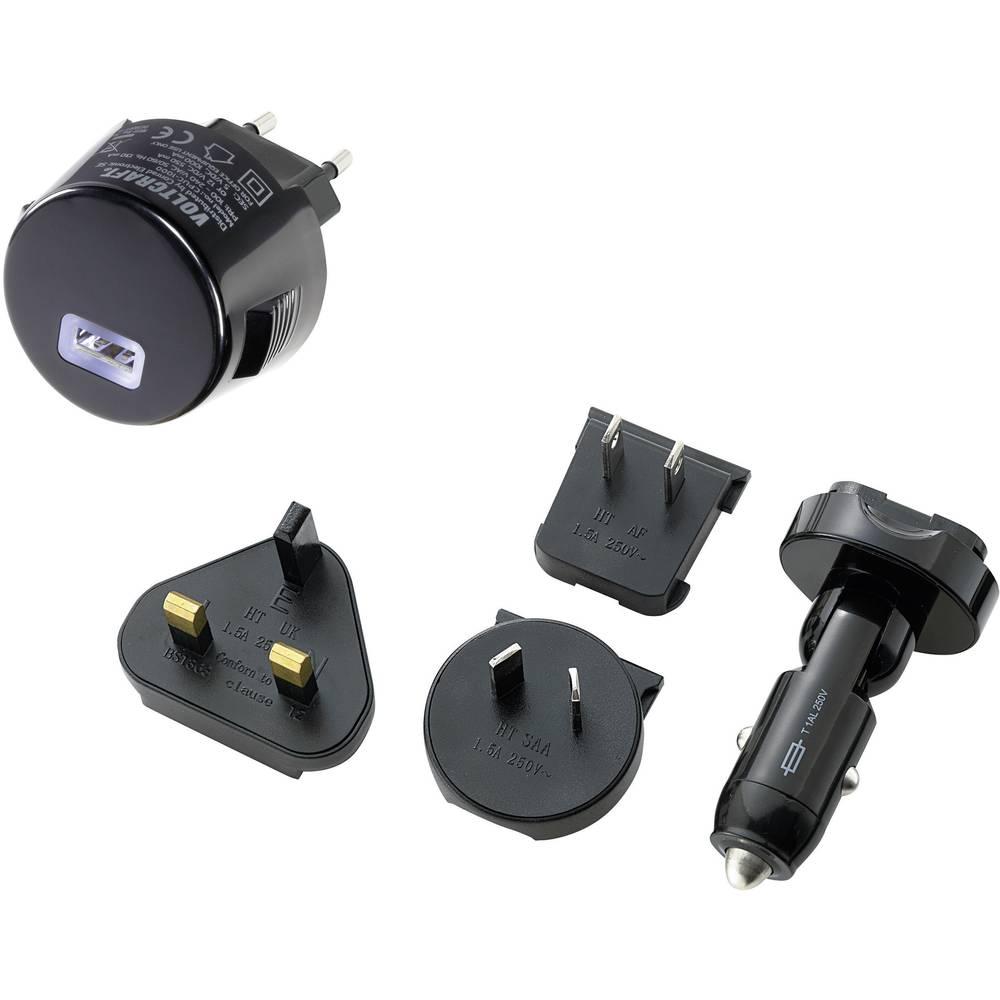 USB-polnilna naprava 5x komplet za avtomobile, vtičnica VOLTCRAFT CPUC-1000 izhodni tok (maks.) 1000 mA 1 x USB z UK-adapterjem