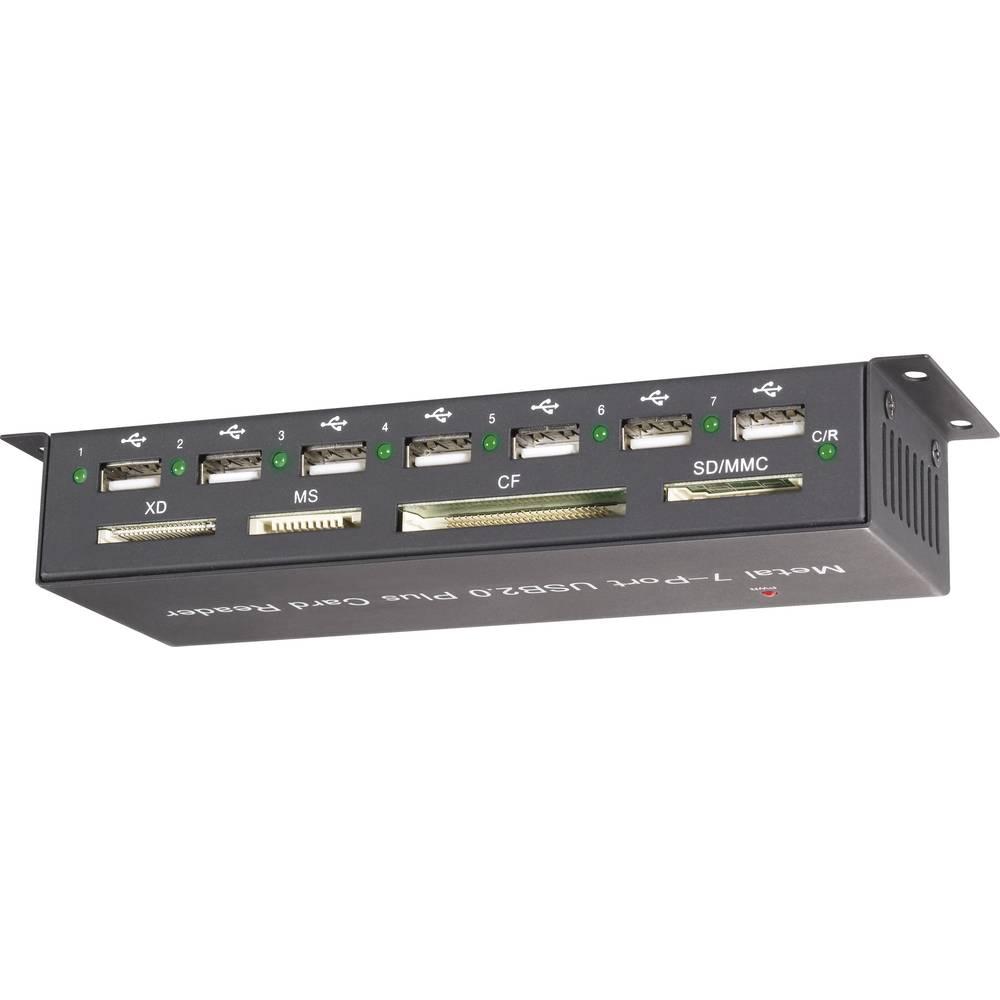 Extern minneskortläsare/hub Renkforce CR09e-Hub USB 2.0 Svart