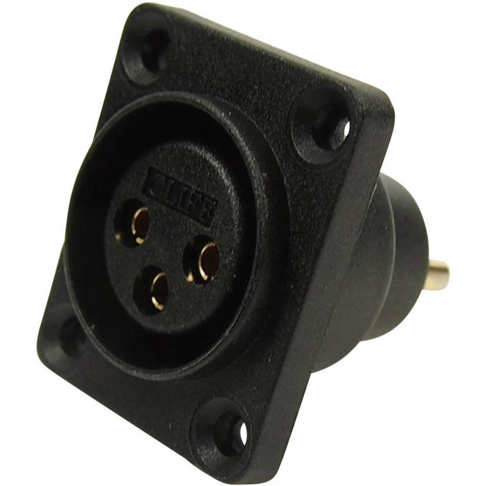 XLR-vtični konektor za prirobno vtičnico, ravni kontakti, število polov: 3 črne barve Cliff CP30070 1 kos