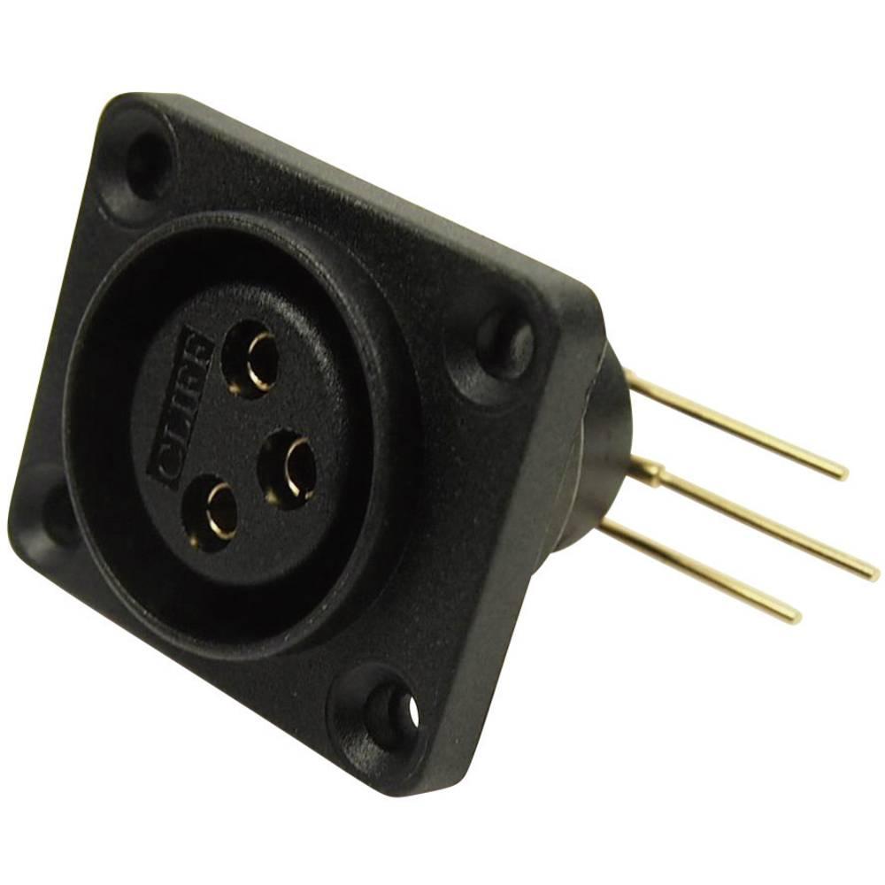 XLR-vtični konektor za prirobno vtičnico, kotni kontaktii število polov: 3 črne barve Cliff CP30072 1 kos