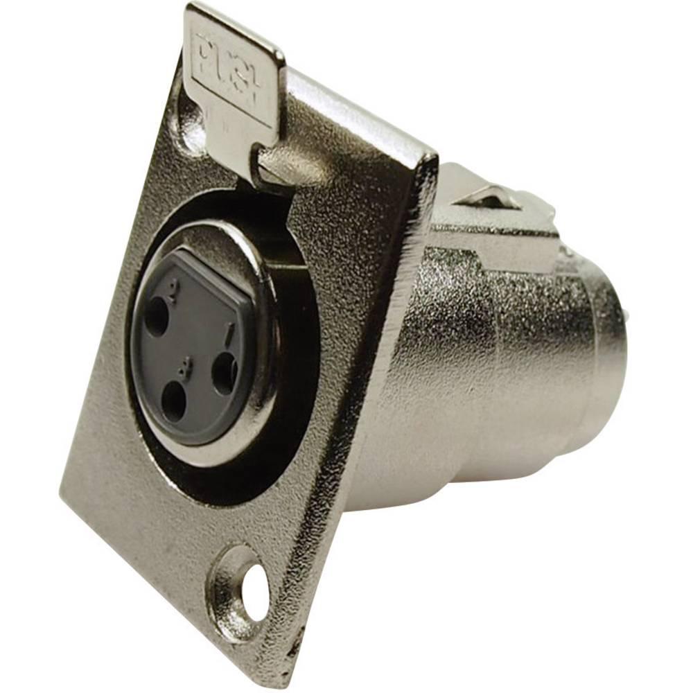 XLR-vtični konektor za prirobno vtičnico, ravni kontakti, število polov: 3 srebrne barve Cliff FC6100 1 kos