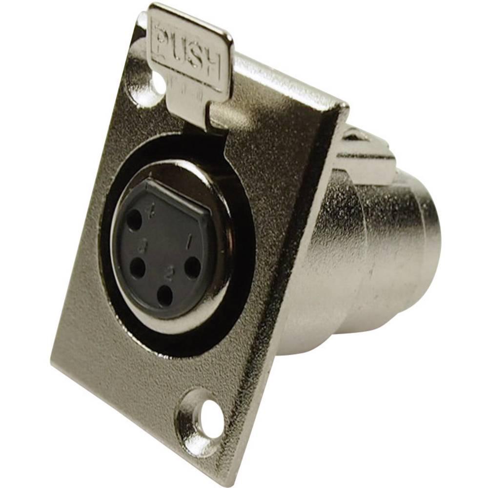 XLR-vtični konektor za prirobno vtičnico, ravni kontakti, število polov: 4 srebrne barve Cliff FC6120 1 kos