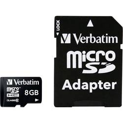 MicroSDHC-kartica 8 GB Verbatim Micro SDHC 8GB CL 10 ADAP Class 10 , vključen SD adapter 44081