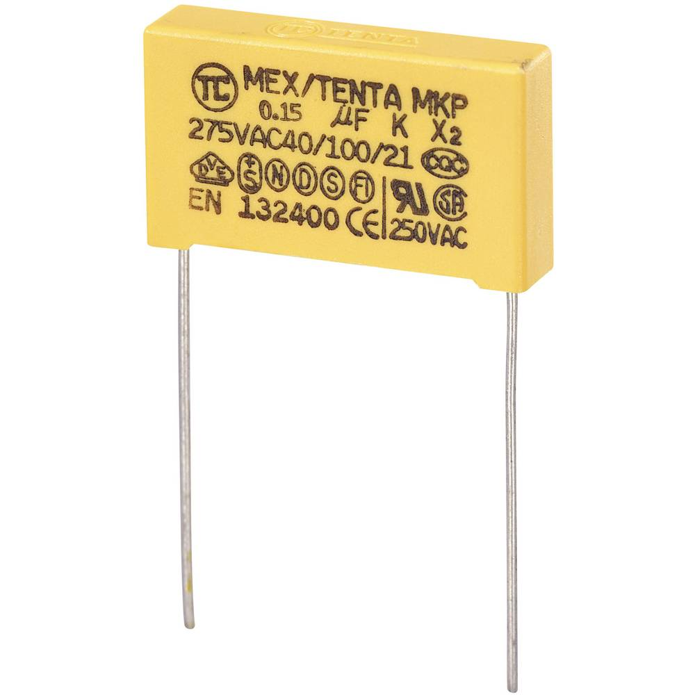 MKP-X2-Radijski kondenzator za uklanjanje smetnji, radijalno ožičen 0.15 µF 275 V/AC 10 % 22.5 mm (D x Š x V) 26.5 x 6 x 1