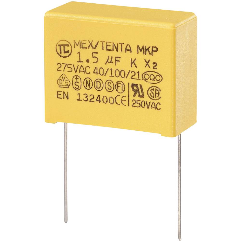 MKP-X2-Radijski kondenzator za uklanjanje smetnji, radijalno ožičen 1.5 µF 280 V/AC 10 % 27.5 mm (D x Š x V) 32 x 15 x 25
